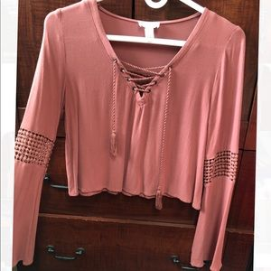 Mauve long sleeve top from Tilly's